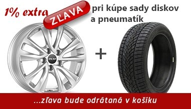 1% dodatočná zľava z ceny tovaru za nákup sady diskov a pneumatík